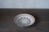 陶眞窯 5寸皿 赤絵 ブーゲンビレア