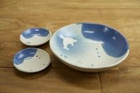 みたさとし 吹付青丸皿(イルカ) &豆皿セット