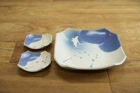 みたさとし 吹付青角皿(マンタ)& 豆皿セット