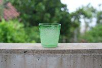 工房虹 泡ふちどり ロックグラス 緑