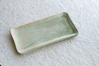 藤陶 緑釉 長角皿 大