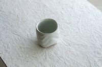 藤陶 白釉 液紋 湯呑み
