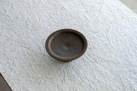 藤陶 サビ釉 高台皿 小