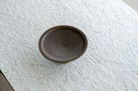 藤陶 サビ釉 高台皿 中