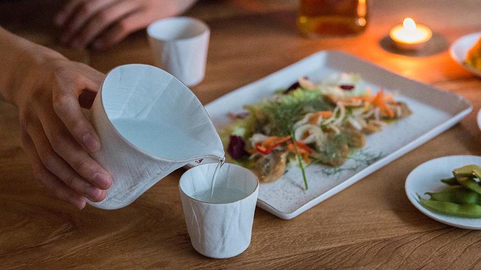 ceramic mimic fabric 冷酒セット