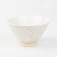 Pヘリンボーン 茶碗(大)ホワイト