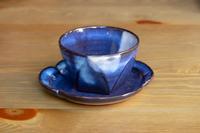 松光山 面取碗皿ブルー