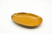 クラフト石川 16cm楕円小皿 飴釉