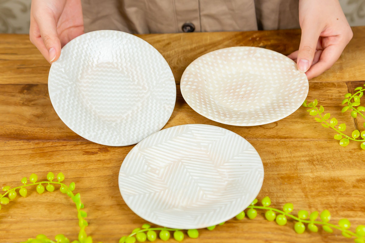 アパレル出身者が考案!生地の絵柄をモチーフにしたお皿aiyu 四寸丸皿