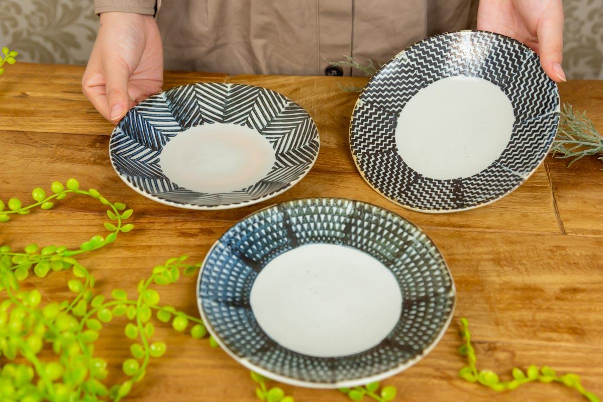 男性も女性も使いやすい!布地をモチーフにした3種類のデザインaiyu六寸丸皿