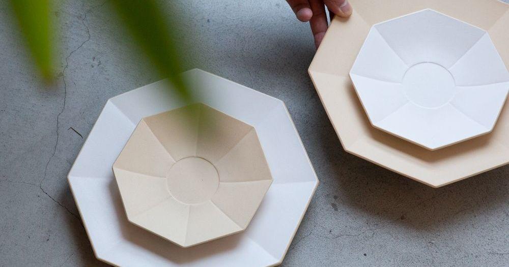 波佐見焼の食器「eni(エニ)140」が誕生!2色の小ぶりな八角形がかわいい!
