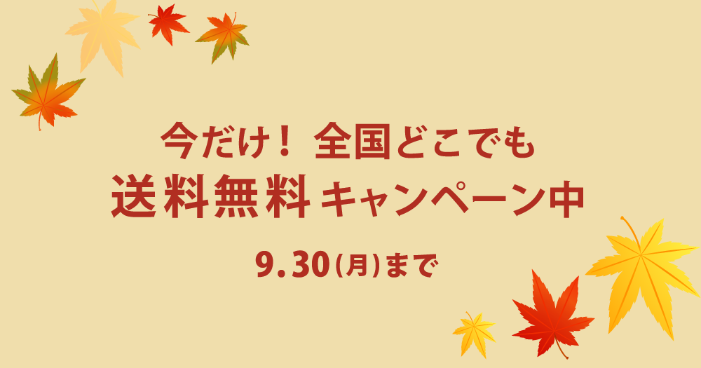 【9月30日まで!全国どこでも送料無料キャンペーン】